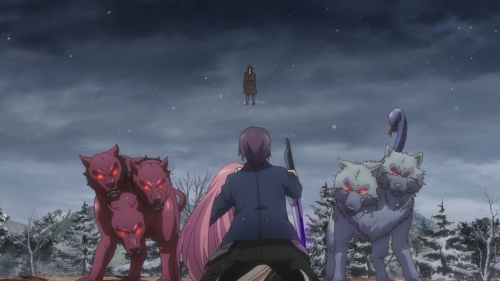 Gakusen Toshi Asterisk 2nd Season / Episode 11 / Ayato protecting Julis from some mythological beasts and Gustave