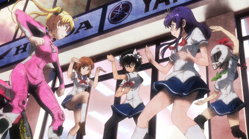 Bakuon!! / Episode 11 / Rin, Hane, Onsa, Hijiri, and Raimu about to fight over which bike a certain character should pursue