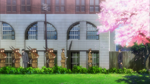 Joker Game / Episode 2 / Symbolism involving soldiers and a cherry-blossom tree