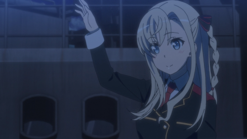 High School Fleet / Episode 9 / Mii waving goodbye to the crew of the Harekaze