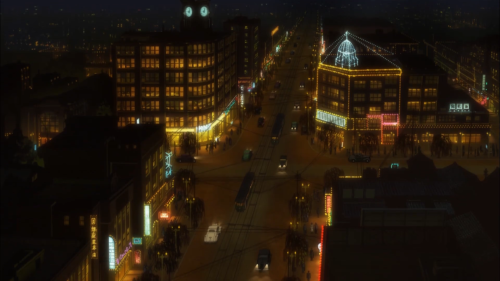 Joker Game / Episode 8 / Shot of a city at nighttime