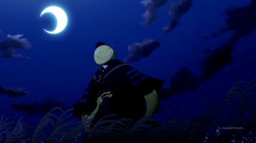 Assassination Classroom Second Season / Episode 15 / Koro-Sensei standing beneath the broken moon