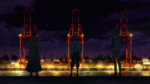 Bungou Stray Dogs / Episode 6 / Dazai, Atsushi, and Kunikida standing next to one another