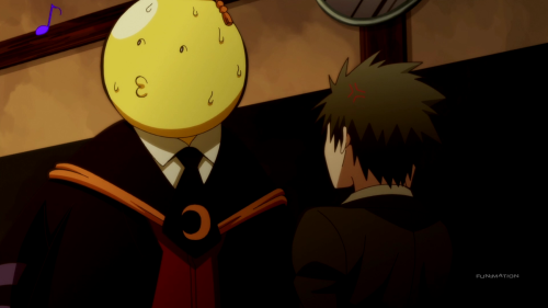 Assassination Classroom Second Season / Episode 10 / Koro-Sensei trying to ignore a question that Karasuma asked him