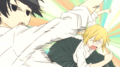"Tanaka-kun wa Itsumo Kedaruge / Episode 6 / Echizen beating up Tanaka for not ""treating"" her more like a wife"