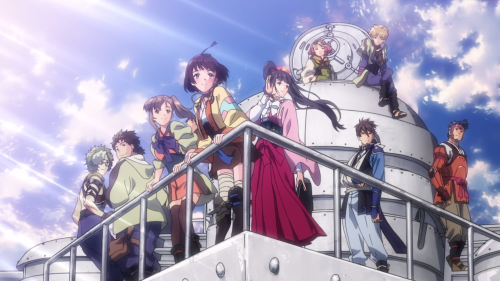 Koutetsujou no Kabaneri / Episode 4 / The main cast standing atop their train