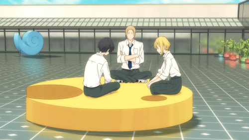 Tanaka-kun wa Itsumo Kedaruge / Episode 3 / Tanaka, Ohta, and Echizen playing a game of cards