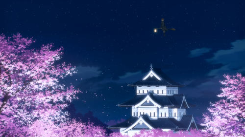 Flying Witch / Episode 4 / Inukai floating gently above the cherry trees and castle
