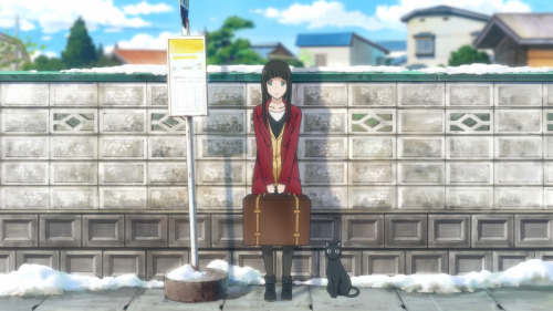 Flying Witch / Episode 1 / Makoto arriving at the town for the first time