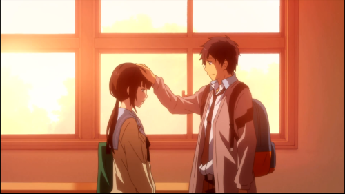 ReLIFE / Episode 2 / Kaizaki patting Hishiro's head