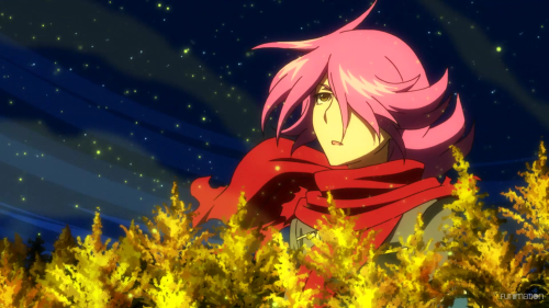 Concrete Revolutio: Choujin Gensou -- The Last Song / Episode 5 / Jiro in a field of Canadian golden rods