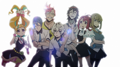 Kiznaiver / Episode 9 / Nico, Yuta, Tenga, Agata, Hisomu, Chidori, and Maki together