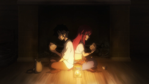 Nejimaki Seirei Senki: Tenkyou no Alderamin / Episode 5 / Ikta and Yatori enjoying some bread together