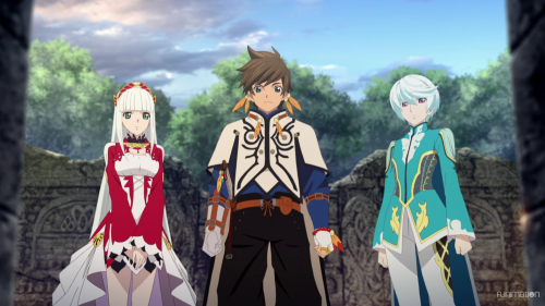 Tales of Zestiria the X / Episode 4 / Lailah, Sorey, and Mikleo about to enter a dungeon