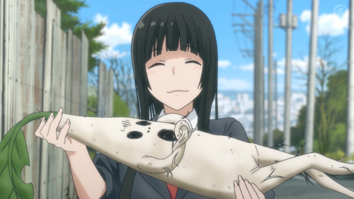 Flying Witch / Episode 1 / Makoto offering a mandrake to Nao
