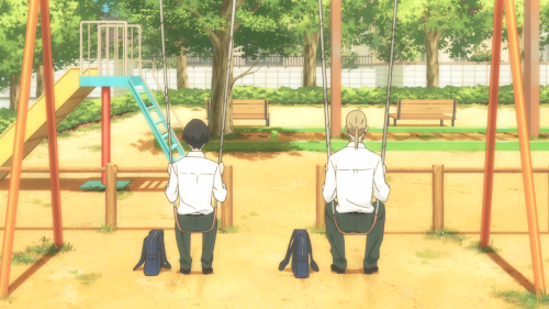 Tanaka-kun wa Itsumo Kedaruge / Episode 1 / Tanaka and Ohta sitting on a set of swings
