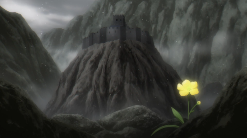 Nejimaki Seirei Senki: Tenkyou no Alderamin / Episode 8 / A lone flower behind which sits a defeated castle