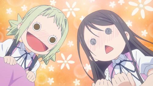 Amanchu! / Episode 11 / Pikari and Teko saving Ohime, the tiny kitty they found