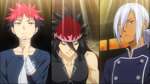 Shokugeki no Souma: Ni no Sara / Episode 7 / Souma, Ryou, and Hayama standing nearby one another