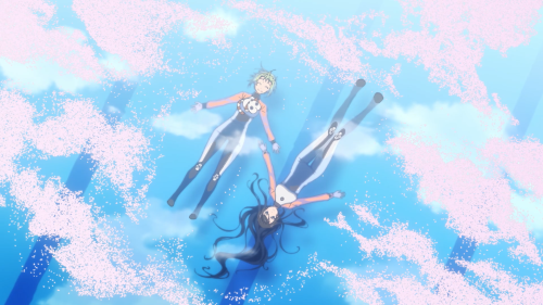 Amanchu! / Episode 2 / Teko and Pikari drifting in the cherry-blossom-petal-filled pool