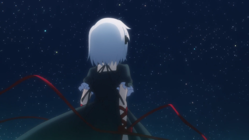 Rewrite / Episode 9 / Kagari looking up into the nighttime sky