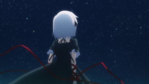 Rewrite / Episode 9 / Kagari looking up into the nighttime sky