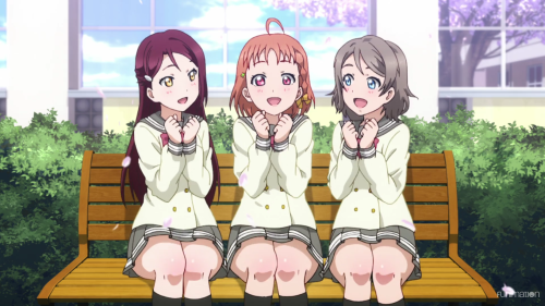 Love Live! Sunshine!! / Episode 1 / Riko, Chika, and You singing side by side (and hand in hand (but not really))