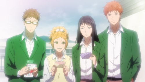 Orange / Episode 8 / Hagiga, Azu, Takako, and Suwa supporting and loving Naho
