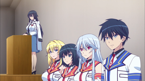 Masou Gakuen HxH / Episode 2 / Kizuna, Aine, Himekawa, Yurishia, and Reiri on stage
