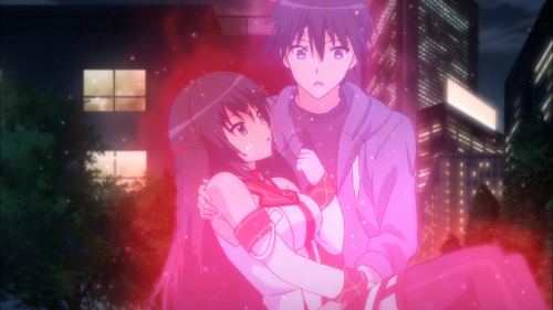 Masou Gakuen HxH / Episode 3 / Himekawa and Kizuna performing a Heart Hybrid