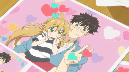 Amaama to Inazuma / Episode 5 / Tsumugi and Kouhei in a silly photo together