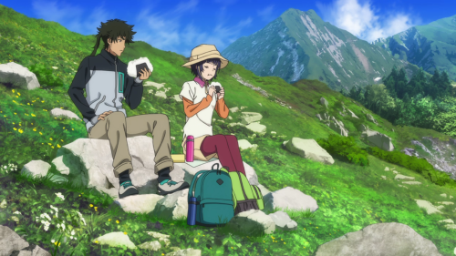 Kuromukuro / Episode 11 / Ken and Yukina eating together on a mountain