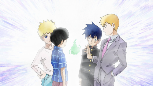 Mob Psycho 100 / Episode 12 / Teruki, Mob, Ritsu, and Reigen around Dimple