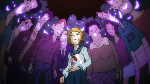 "Mob Psycho 100 / Episode 3 / Creepy, ""smiling"" people surrounding Ichi, the journalist"