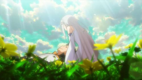 Re:Zero kara Hajimeru Isekai Seikatsu / Episode 25 / Subaru laying on Emilia's lap