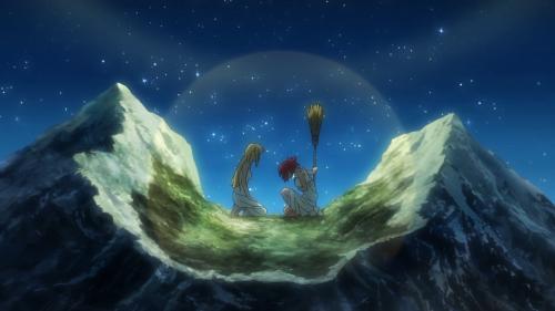 Shuumatsu no Izetta / Episode 12 / Finé and Izetta speaking atop a mountain