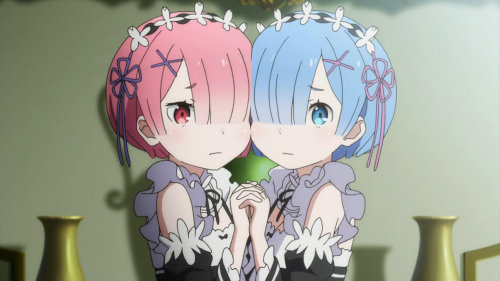 Re:Zero kara Hajimeru Isekai Seikatsu / Episode 8 / Ram and Rem holding onto one another