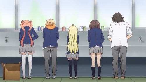 Kono Bijutsubu ni wa Mondai ga Aru! / Episode 11 / Maria, Uchimaki, Collete, Usami, and President washing some cans