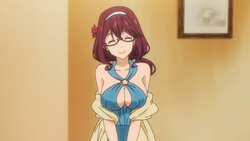 Masamune-kun no Revenge / Episode 7 / Midori greeting Masamune-kun, Aki, and the others at the private-island-getaway mansion