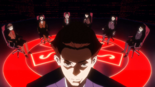 Occultic;Nine / Episode 8 / The Society of Eight Gods of Fortune cult discussing their matters
