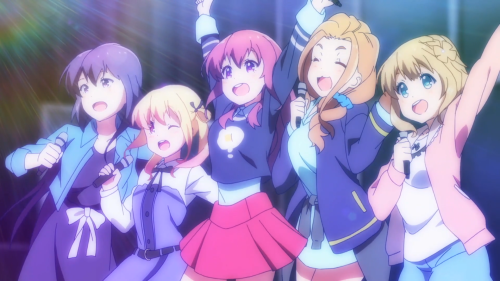 Gi(a)rlish Number / Episode 4 / Kazuha, Momoka, Chitose, Koto, and Yae after singing their song and saving their first-episode screening