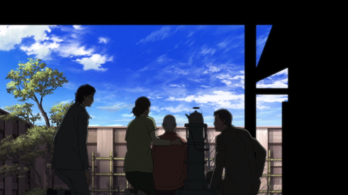 Fune wo Amu / Episode 11 / Majime, Araki, Matsumoto-sensei, and his wife together on their deck