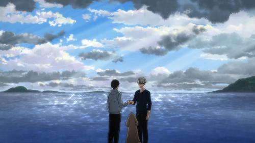Yuri!!! on ICE / Episode 4 / Yuri and Victor shaking hands
