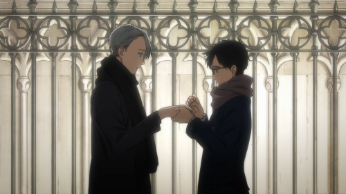 "Yuri!!! on ICE / Episode 10 / Yuri and Victor exchanging ""good-luck charms"""