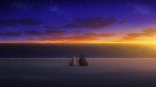 Demi-chan wa Kataritai / Episode 11 / Hikari and Takahashi-sensei sitting together on the beach