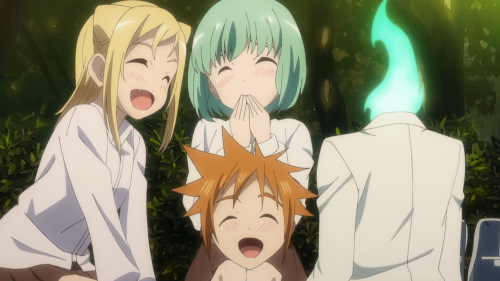 Demi-chan wa Kataritai / Episode 5 / Hikari, Yuki, and Machi laughing together as friends