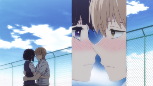 Kuzu no Honkai / Episode 5 / Hanabi and Mugi embracing each other on the rooftop with panel mode in effect
