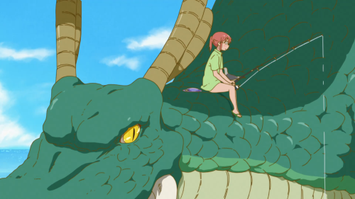 Kobayashi-san Chi no Maid Dragon / Episode 7 / Kobayashi fishing while she talks with Tohru