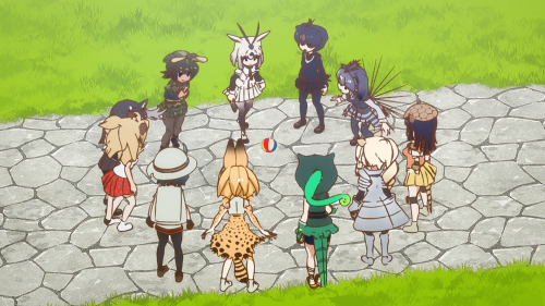 Kemono Friends / Episode 6 / The different Friends of the plains gathered in a circle with Kaban and Serval