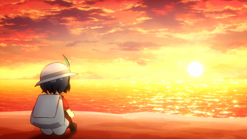 Kemono Friends / Episode 2 / Kaban staring out at the sunset during the OP